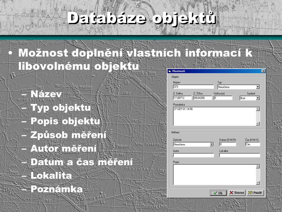 Databáze objektů Možnost doplnění vlastních informací k libovolnému objektu –Název –Typ objektu –Popis objektu –Způsob měření –Autor měření –Datum a č