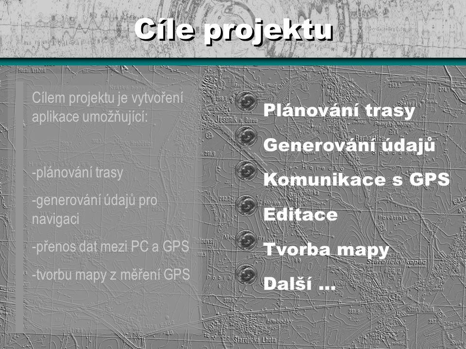 Cíle projektu Cílem projektu je vytvoření aplikace umožňující: -plánování trasy -generování údajů pro navigaci -přenos dat mezi PC a GPS -tvorbu mapy