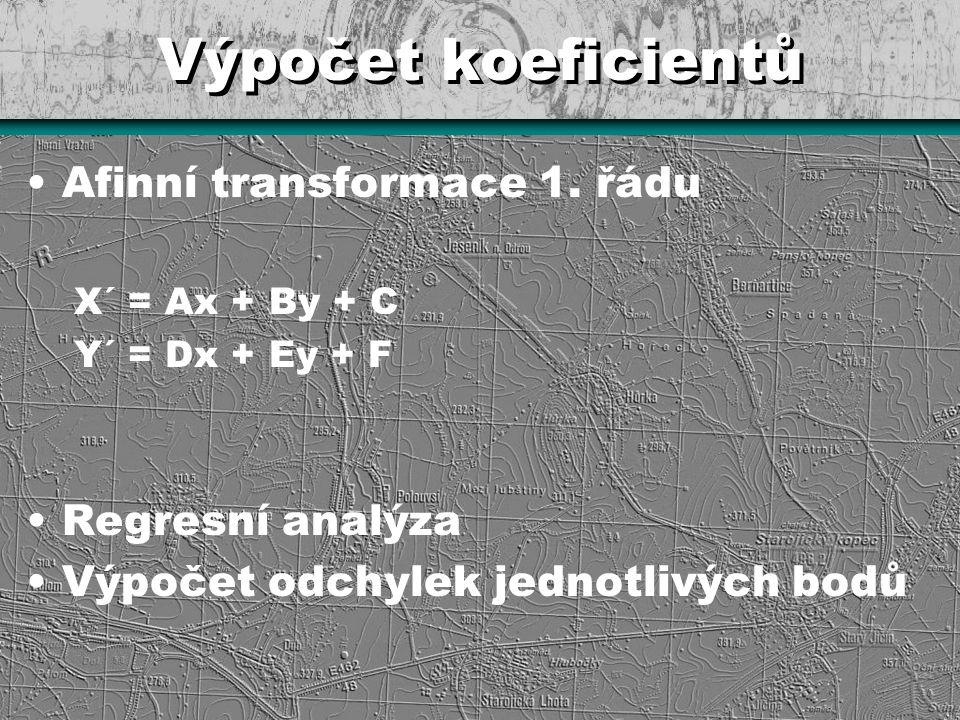 Výpočet koeficientů Afinní transformace 1. řádu X´ = Ax + By + C Y´ = Dx + Ey + F Regresní analýza Výpočet odchylek jednotlivých bodů