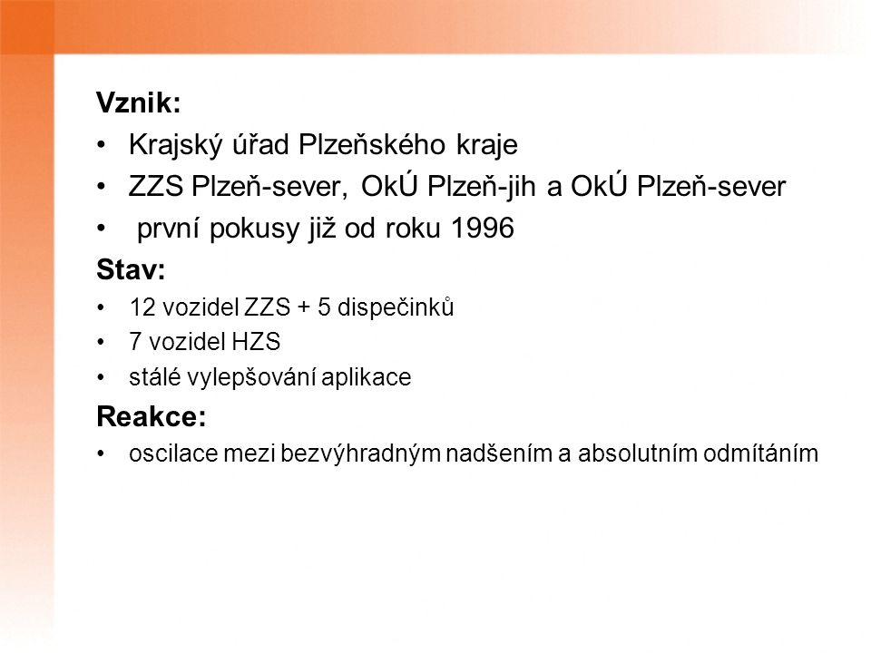 Vznik: Krajský úřad Plzeňského kraje ZZS Plzeň-sever, OkÚ Plzeň-jih a OkÚ Plzeň-sever první pokusy již od roku 1996 Stav: 12 vozidel ZZS + 5 dispečinků 7 vozidel HZS stálé vylepšování aplikace Reakce: oscilace mezi bezvýhradným nadšením a absolutním odmítáním