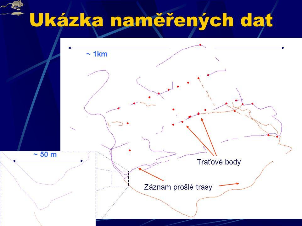 Ukázka naměřených dat ~ 1km ~ 50 m Traťové body Záznam prošlé trasy