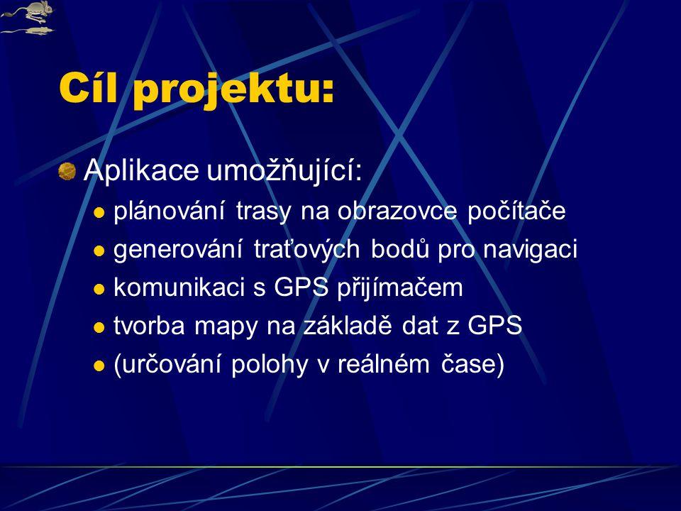 Cíl projektu: Aplikace umožňující: plánování trasy na obrazovce počítače generování traťových bodů pro navigaci komunikaci s GPS přijímačem tvorba mapy na základě dat z GPS (určování polohy v reálném čase)