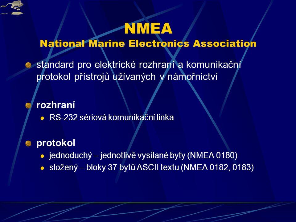 NMEA National Marine Electronics Association standard pro elektrické rozhraní a komunikační protokol přístrojů užívaných v námořnictví rozhraní RS-232 sériová komunikační linka protokol jednoduchý – jednotlivě vysílané byty (NMEA 0180) složený – bloky 37 bytů ASCII textu (NMEA 0182, 0183)