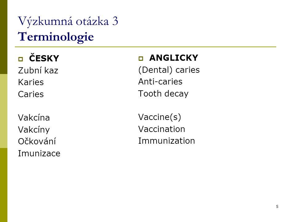 5 Výzkumná otázka 3 Terminologie  ČESKY Zubní kaz Karies Caries Vakcína Vakcíny Očkování Imunizace  ANGLICKY (Dental) caries Anti-caries Tooth decay
