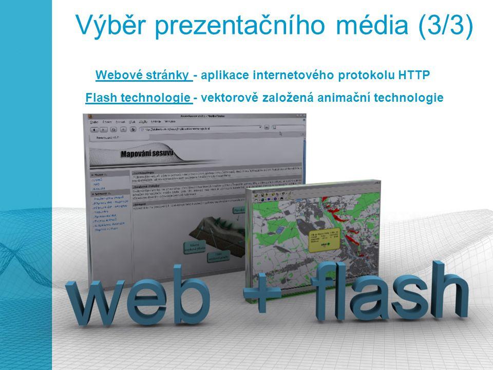 Výběr prezentačního média (3/3) Webové stránky - aplikace internetového protokolu HTTP Flash technologie - vektorově založená animační technologie