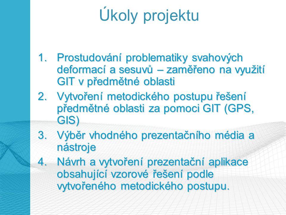 Úkoly projektu 1.Prostudování problematiky svahových deformací a sesuvů – zaměřeno na využití GIT v předmětné oblasti 2.Vytvoření metodického postupu