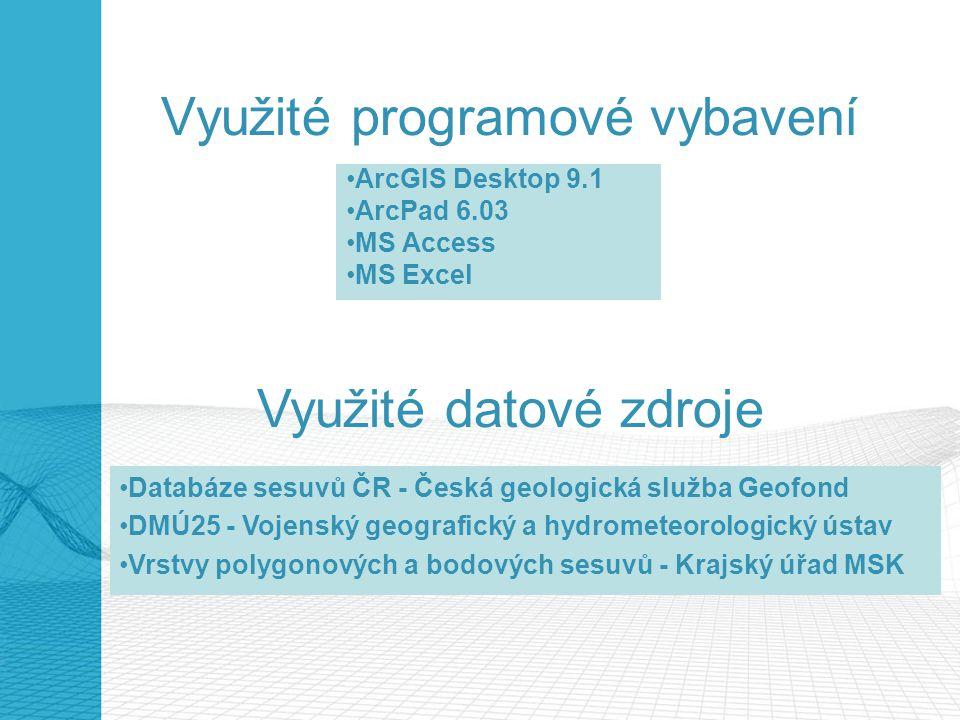 Využité programové vybavení ArcGIS Desktop 9.1 ArcPad 6.03 MS Access MS Excel Využité datové zdroje Databáze sesuvů ČR - Česká geologická služba Geofo