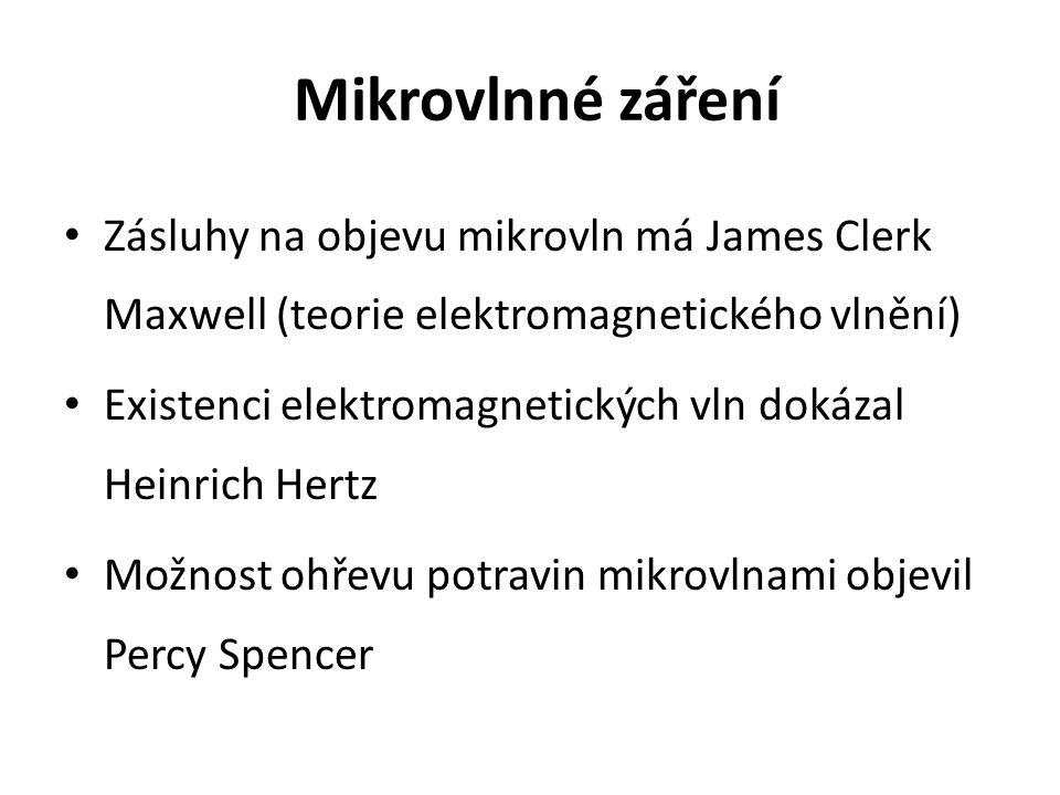 Mikrovlnné záření Zásluhy na objevu mikrovln má James Clerk Maxwell (teorie elektromagnetického vlnění) Existenci elektromagnetických vln dokázal Heinrich Hertz Možnost ohřevu potravin mikrovlnami objevil Percy Spencer