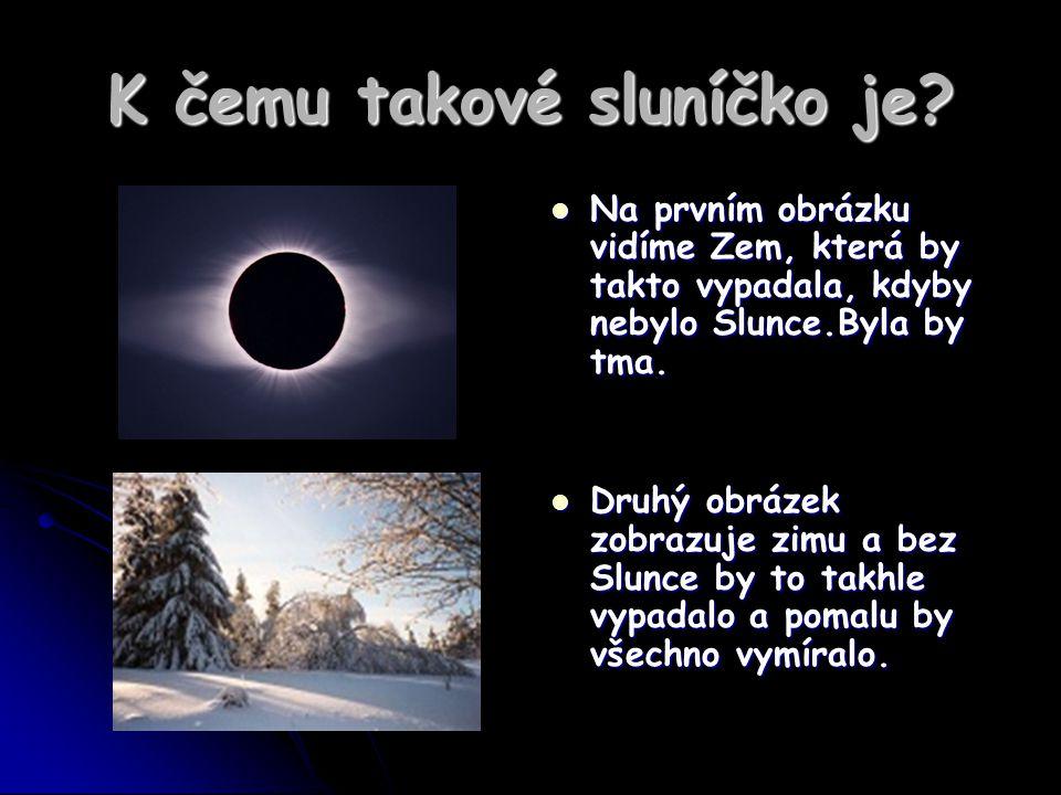 K čemu takové sluníčko je? Na prvním obrázku vidíme Zem, která by takto vypadala, kdyby nebylo Slunce.Byla by tma. Na prvním obrázku vidíme Zem, která