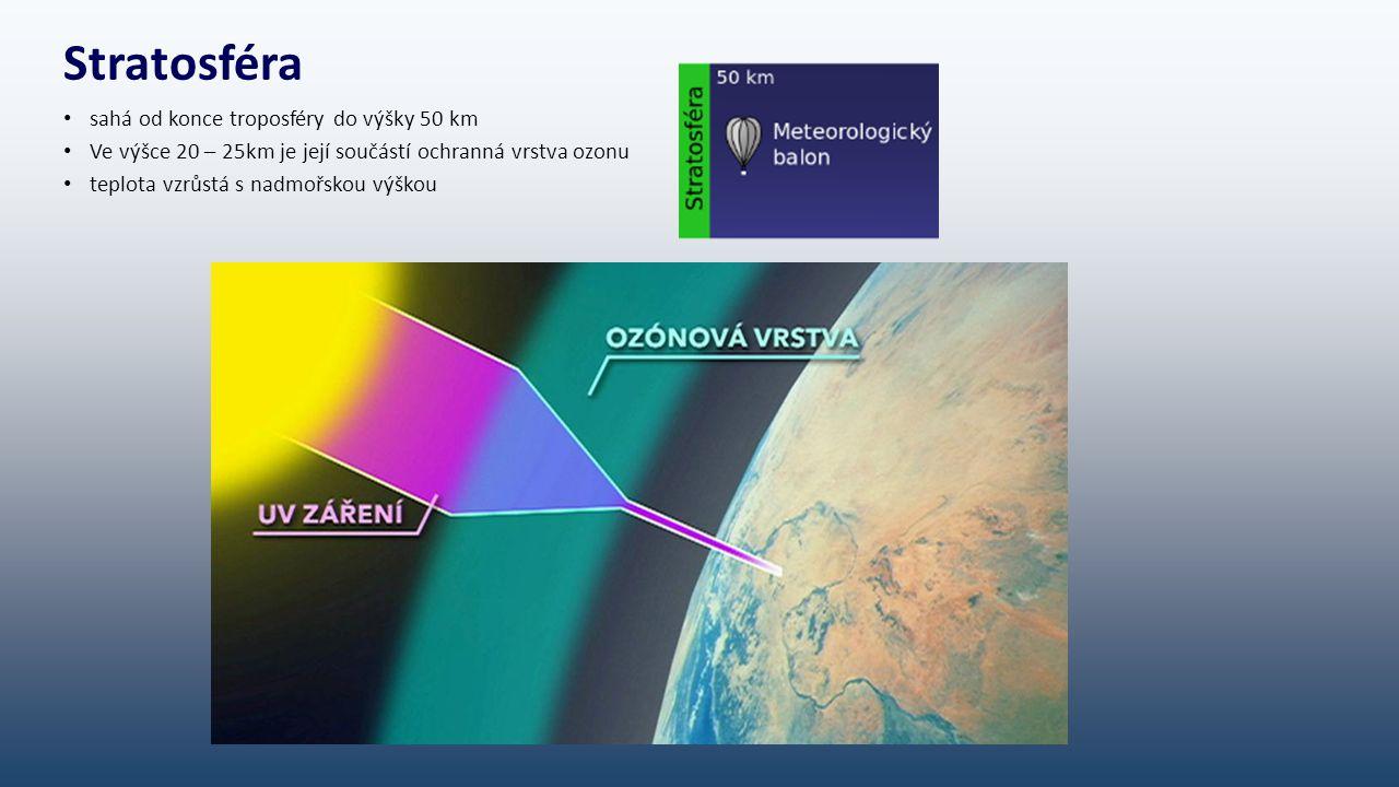 Stratosféra sahá od konce troposféry do výšky 50 km Ve výšce 20 – 25km je její součástí ochranná vrstva ozonu teplota vzrůstá s nadmořskou výškou
