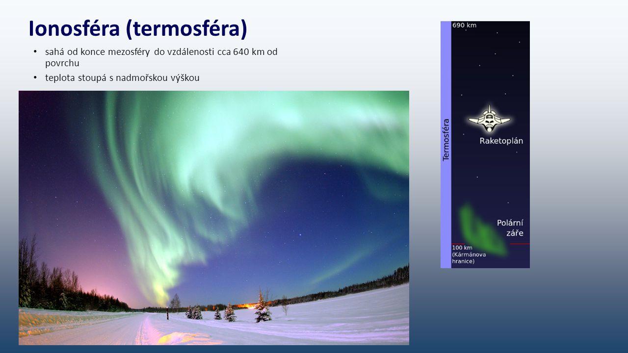 Ionosféra (termosféra) sahá od konce mezosféry do vzdálenosti cca 640 km od povrchu teplota stoupá s nadmořskou výškou