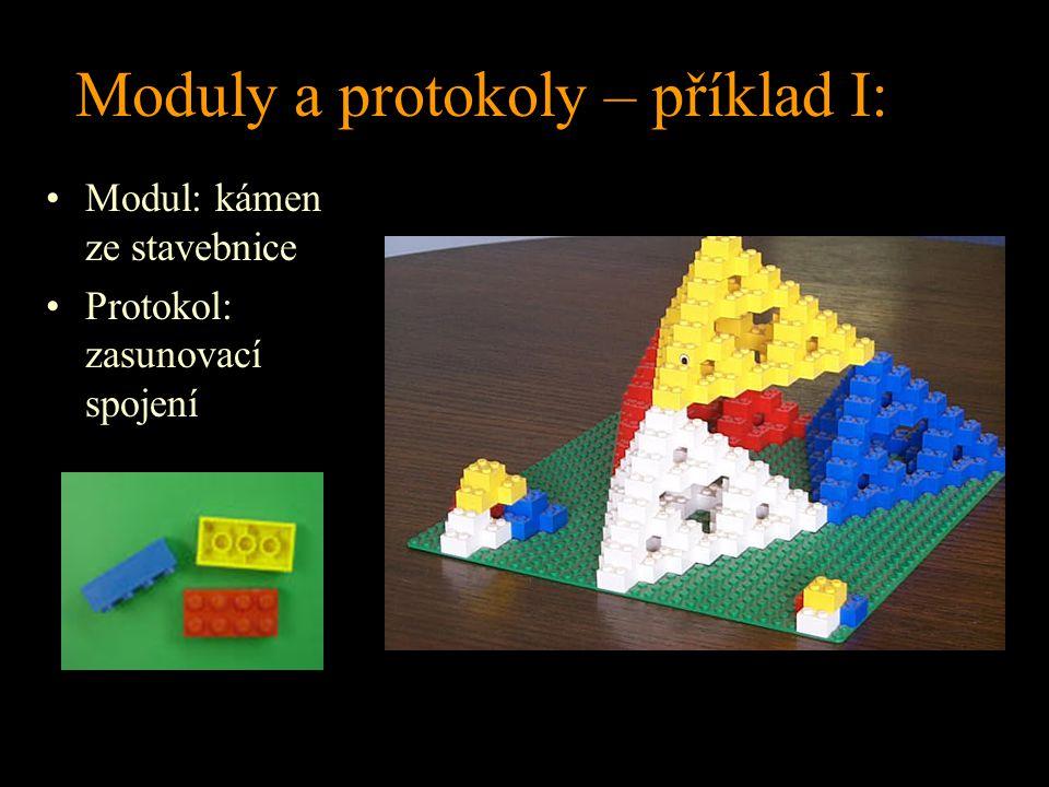 Moduly a protokoly – příklad I: Modul: kámen ze stavebnice Protokol: zasunovací spojení