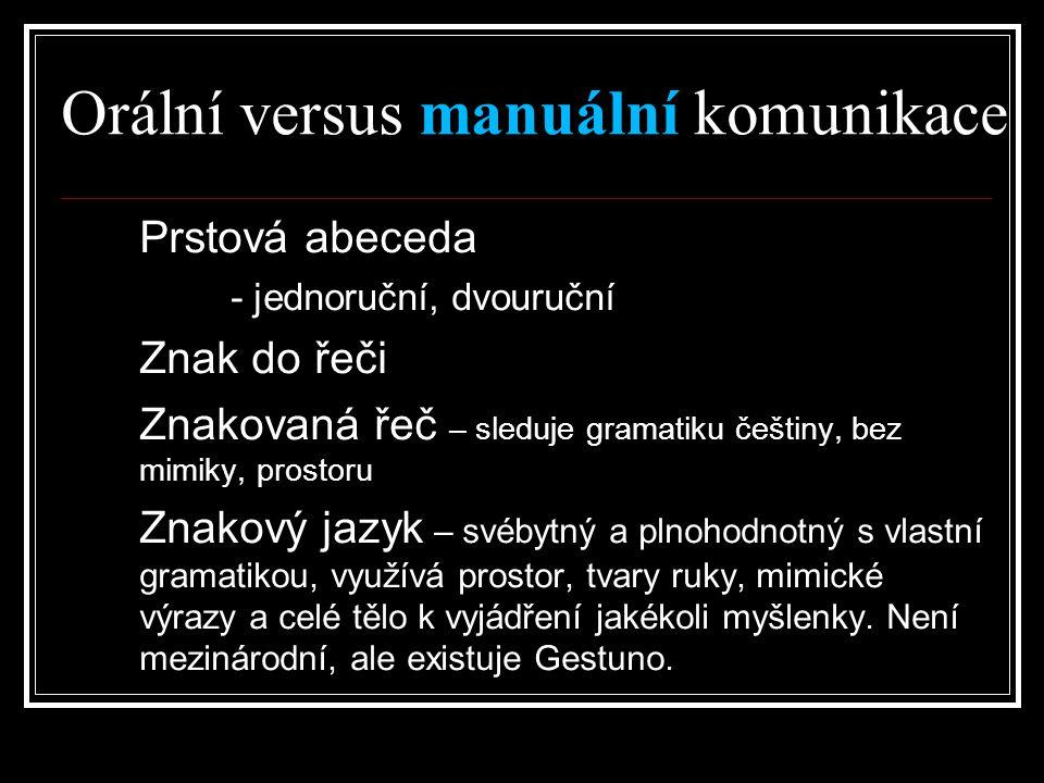 Orální versus manuální komunikace Prstová abeceda – - jednoruční, dvouruční Znak do řeči Znakovaná řeč – sleduje gramatiku češtiny, bez mimiky, prosto