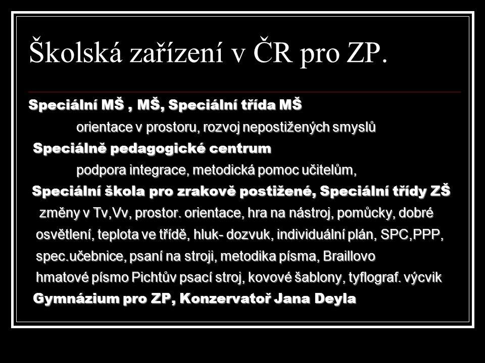 Školská zařízení v ČR pro ZP. Speciální MŠ, MŠ, Speciální třída MŠ orientace v prostoru, rozvoj nepostižených smyslů orientace v prostoru, rozvoj nepo
