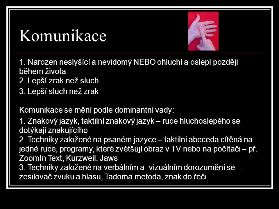 Komunikace 1. Narozen neslyšící a nevidomý NEBO ohluchl a oslepl později během života 2. Lepší zrak než sluch 3. Lepší sluch než zrak Komunikace se mě