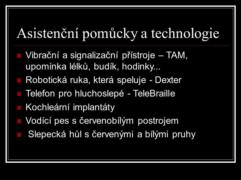 Asistenční pomůcky a technologie Vibrační a signalizační přístroje – TAM, upomínka lélků, budík, hodinky... Robotická ruka, která speluje - Dexter Tel