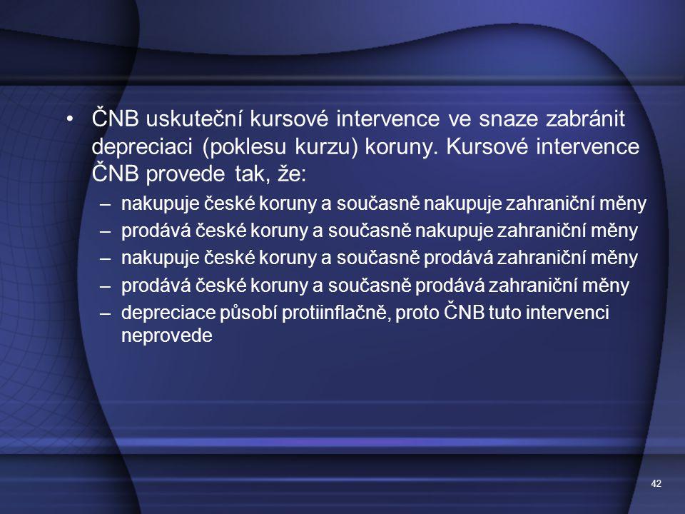 42 ČNB uskuteční kursové intervence ve snaze zabránit depreciaci (poklesu kurzu) koruny.