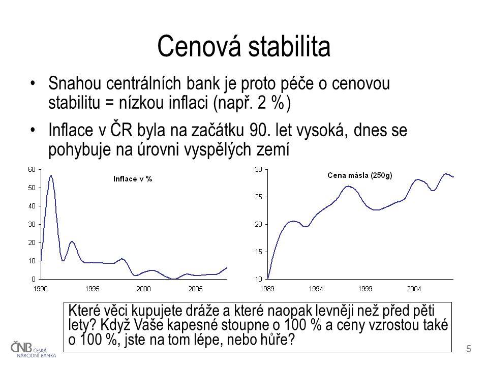 6 Peníze vydává centrální banka Mince a bankovky emitovány centrální (státní) bankou Peněžní platbu nelze odmítnout Podmínky platby dány zákonem –platba bankovkami je bez omezení –platbu mincemi lze odmítnout, pokud platíte: více jak 10 mincemi stejné hodnoty částku v hodnotě přes 100 Kč a použijete-li 10korunové mince a nižší částku v hodnotě přes 500 Kč