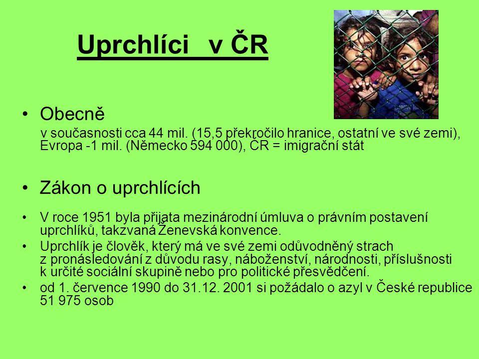 Uprchlíci v ČR Obecně v současnosti cca 44 mil. (15,5 překročilo hranice, ostatní ve své zemi), Evropa -1 mil. (Německo 594 000), ČR = imigrační stát