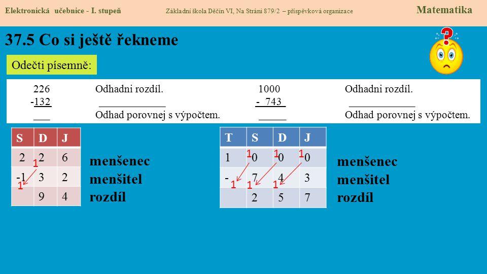 37.5 Co si ještě řekneme Elektronická učebnice - I. stupeň Základní škola Děčín VI, Na Stráni 879/2 – příspěvková organizace Matematika Odečti písemně