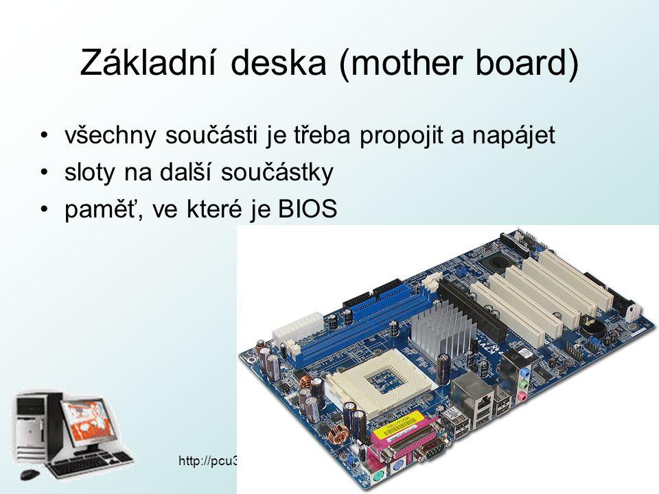 Základní deska (mother board) všechny součásti je třeba propojit a napájet sloty na další součástky paměť, ve které je BIOS http://pcu3v.fjfi.cvut.cz
