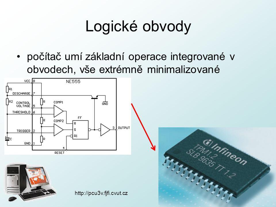 http://pcu3v.fjfi.cvut.cz Logické obvody počítač umí základní operace integrované v obvodech, vše extrémně minimalizované