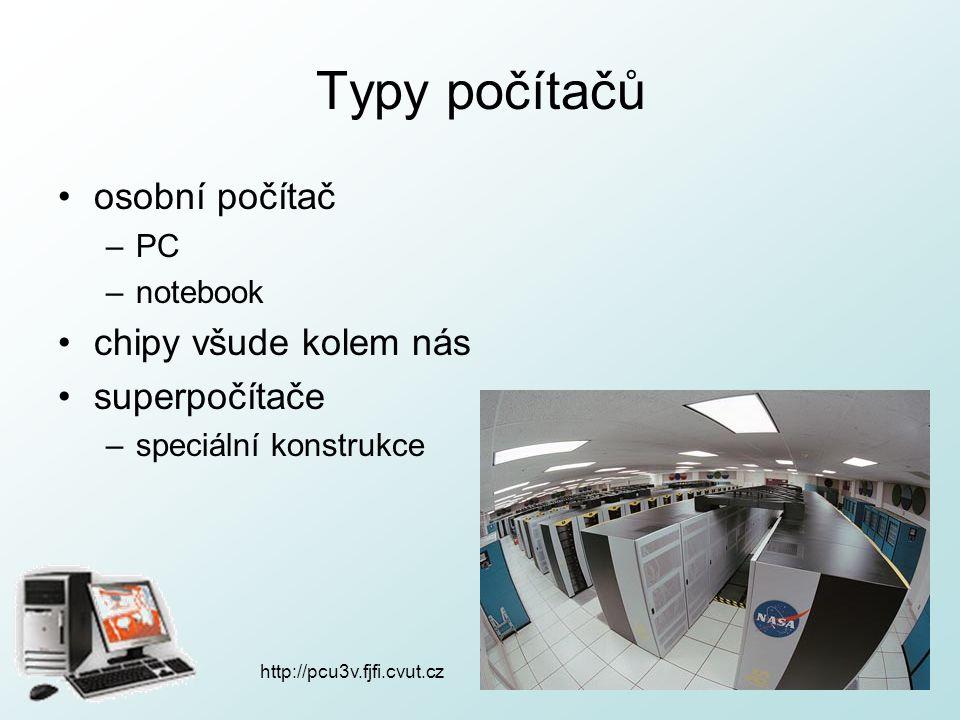 http://pcu3v.fjfi.cvut.cz Hardware veškeré fyzické vybavení počítače počítač složen z –počítačové skříně (procesor, operační paměť, grafická karta, chladiče, základní deska, zdroj, disky, řadiče pro připojení zařízení,…) –vstupně-výstupních zařízení (monitor, klávesnice, myš, tiskárna, reproduktory,…)