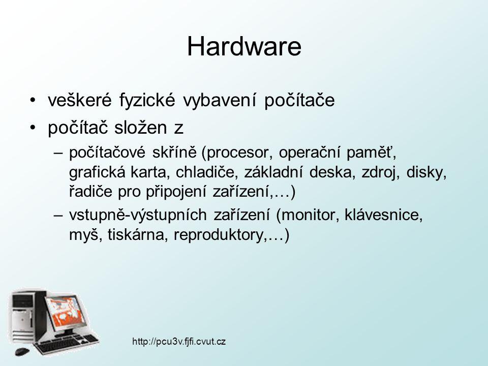 http://pcu3v.fjfi.cvut.cz Hardware veškeré fyzické vybavení počítače počítač složen z –počítačové skříně (procesor, operační paměť, grafická karta, ch