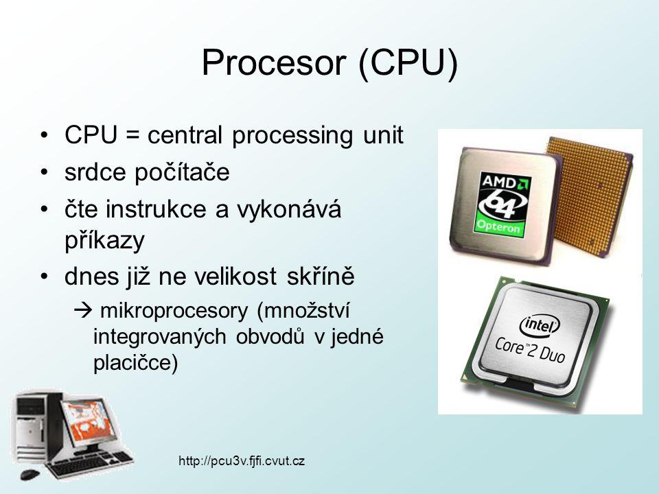 http://pcu3v.fjfi.cvut.cz Procesor (CPU) CPU = central processing unit srdce počítače čte instrukce a vykonává příkazy dnes již ne velikost skříně  m