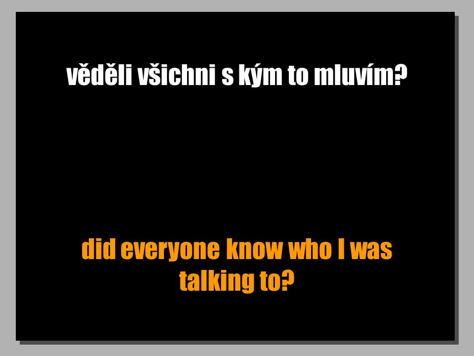 věděli všichni s kým to mluvím? did everyone know who I was talking to?