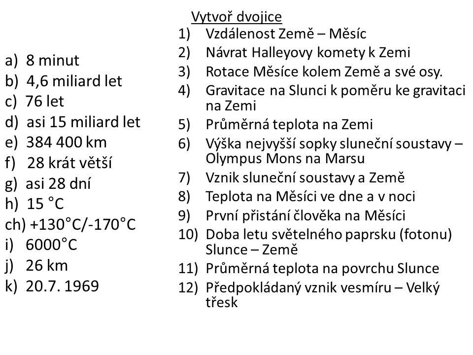 Řešení: a10, b7, c2, d12, e1, f4, g3, h5, ch8, i11, j6, k9 http://www.youtube.com/watch?v=5rZ4dwP8zNc http://www.youtube.com/watch?v=vRwcbLFV1Co