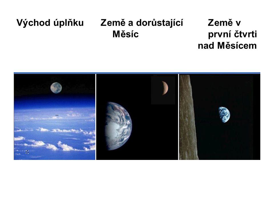 Východ úplňku Země a dorůstající Země v Měsíc první čtvrti nad Měsícem