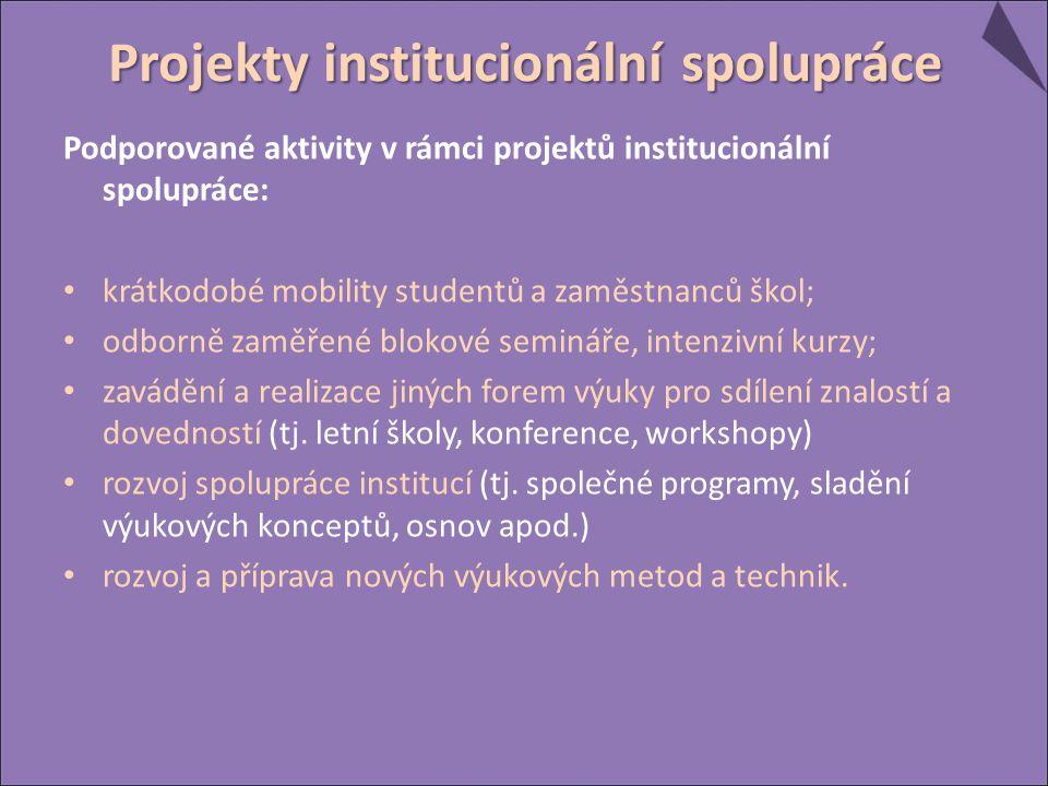 Podporované aktivity v rámci projektů institucionální spolupráce: krátkodobé mobility studentů a zaměstnanců škol; odborně zaměřené blokové semináře, intenzivní kurzy; zavádění a realizace jiných forem výuky pro sdílení znalostí a dovedností (tj.
