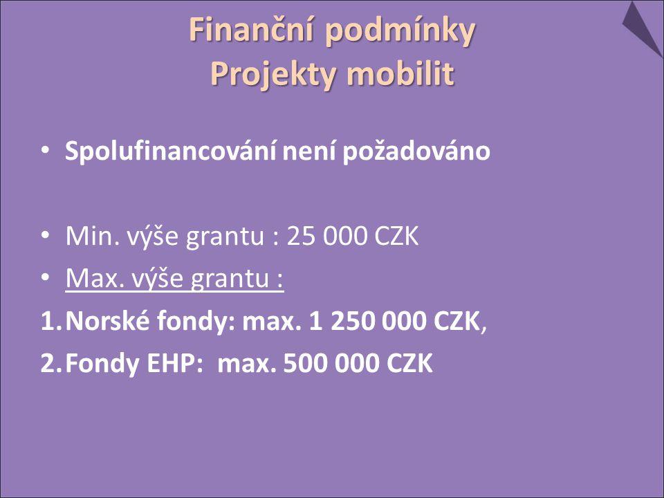 Finanční podmínky Projekty mobilit Spolufinancování není požadováno Min.