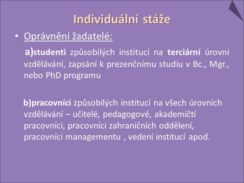 Individuální stáže Oprávnění žadatelé: a) studenti způsobilých institucí na terciární úrovni vzdělávání, zapsání k prezenčnímu studiu v Bc., Mgr., nebo PhD programu b)pracovníci způsobilých institucí na všech úrovních vzdělávání – učitelé, pedagogové, akademičtí pracovníci, pracovníci zahraničních oddělení, pracovníci managementu, vedení institucí apod.