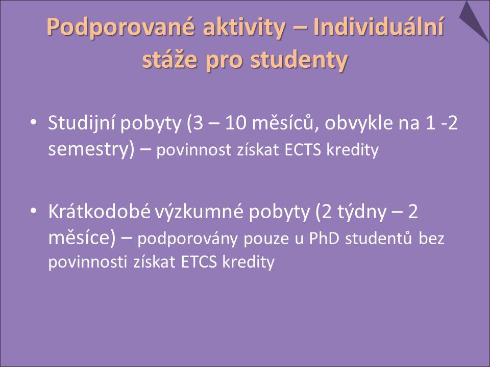 Podporované aktivity – Individuální stáže pro studenty Studijní pobyty (3 – 10 měsíců, obvykle na 1 -2 semestry) – povinnost získat ECTS kredity Krátkodobé výzkumné pobyty (2 týdny – 2 měsíce) – podporovány pouze u PhD studentů bez povinnosti získat ETCS kredity
