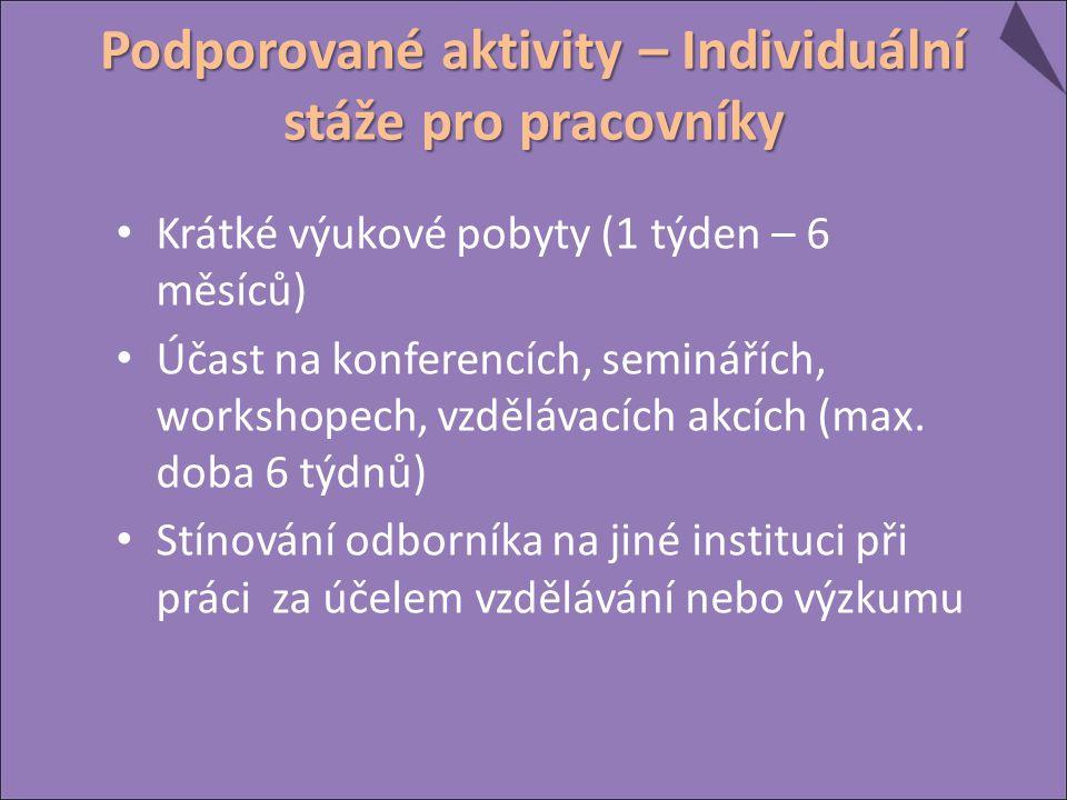 Podporované aktivity – Individuální stáže pro pracovníky Krátké výukové pobyty (1 týden – 6 měsíců) Účast na konferencích, seminářích, workshopech, vzdělávacích akcích (max.