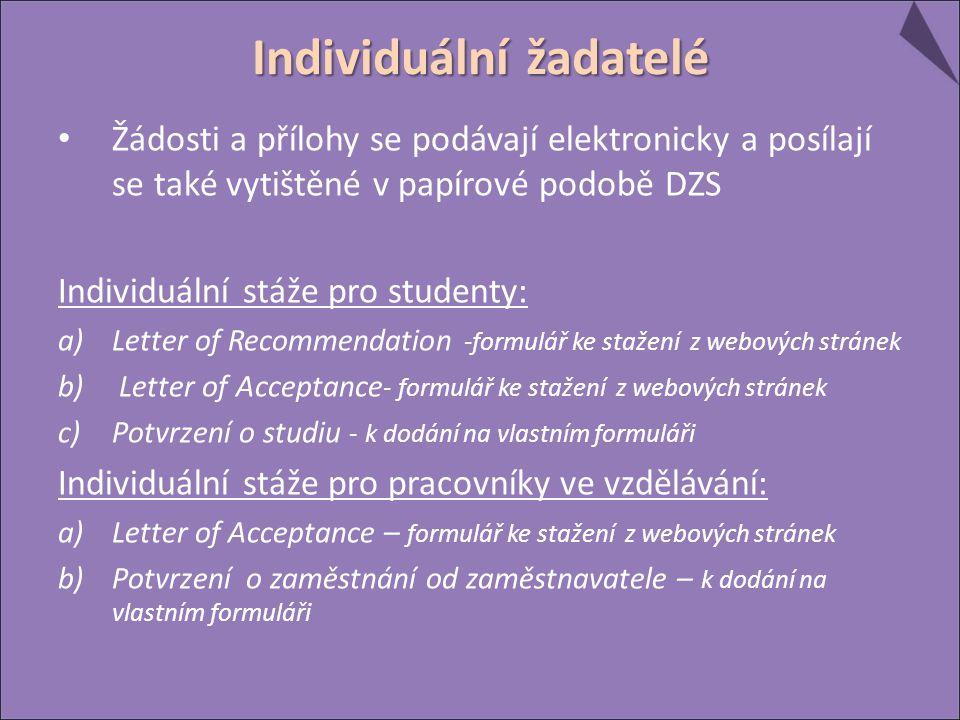Žádosti a přílohy se podávají elektronicky a posílají se také vytištěné v papírové podobě DZS Individuální stáže pro studenty: a)Letter of Recommendation -formulář ke stažení z webových stránek b) Letter of Acceptance - formulář ke stažení z webových stránek c)Potvrzení o studiu - k dodání na vlastním formuláři Individuální stáže pro pracovníky ve vzdělávání: a)Letter of Acceptance – formulář ke stažení z webových stránek b)Potvrzení o zaměstnání od zaměstnavatele – k dodání na vlastním formuláři Individuální žadatelé