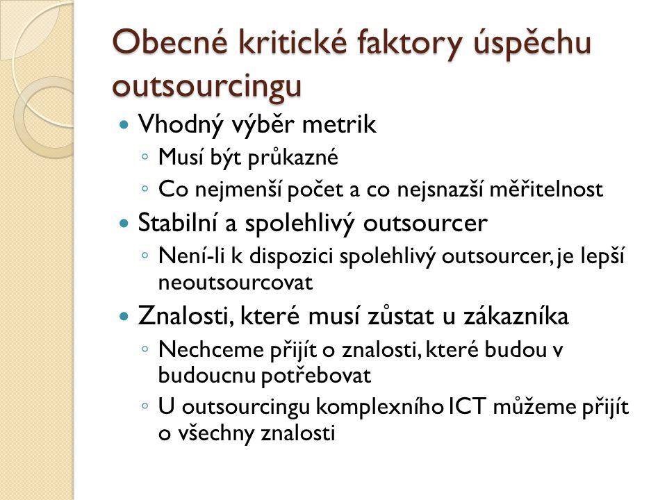 Obecné kritické faktory úspěchu outsourcingu Vhodný výběr metrik ◦ Musí být průkazné ◦ Co nejmenší počet a co nejsnazší měřitelnost Stabilní a spolehl