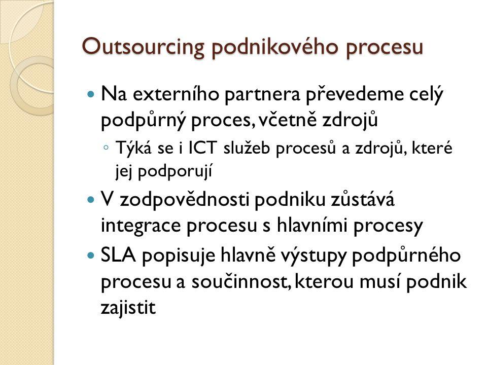Outsourcing podnikového procesu Na externího partnera převedeme celý podpůrný proces, včetně zdrojů ◦ Týká se i ICT služeb procesů a zdrojů, které jej