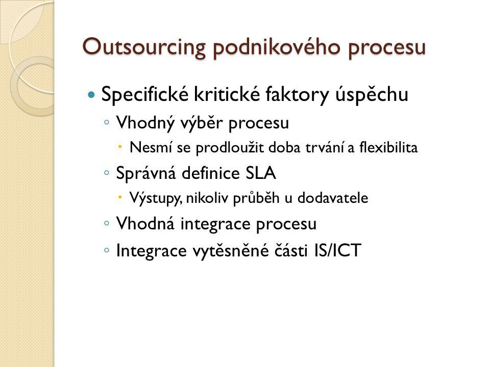 Outsourcing podnikového procesu Specifické kritické faktory úspěchu ◦ Vhodný výběr procesu  Nesmí se prodloužit doba trvání a flexibilita ◦ Správná d