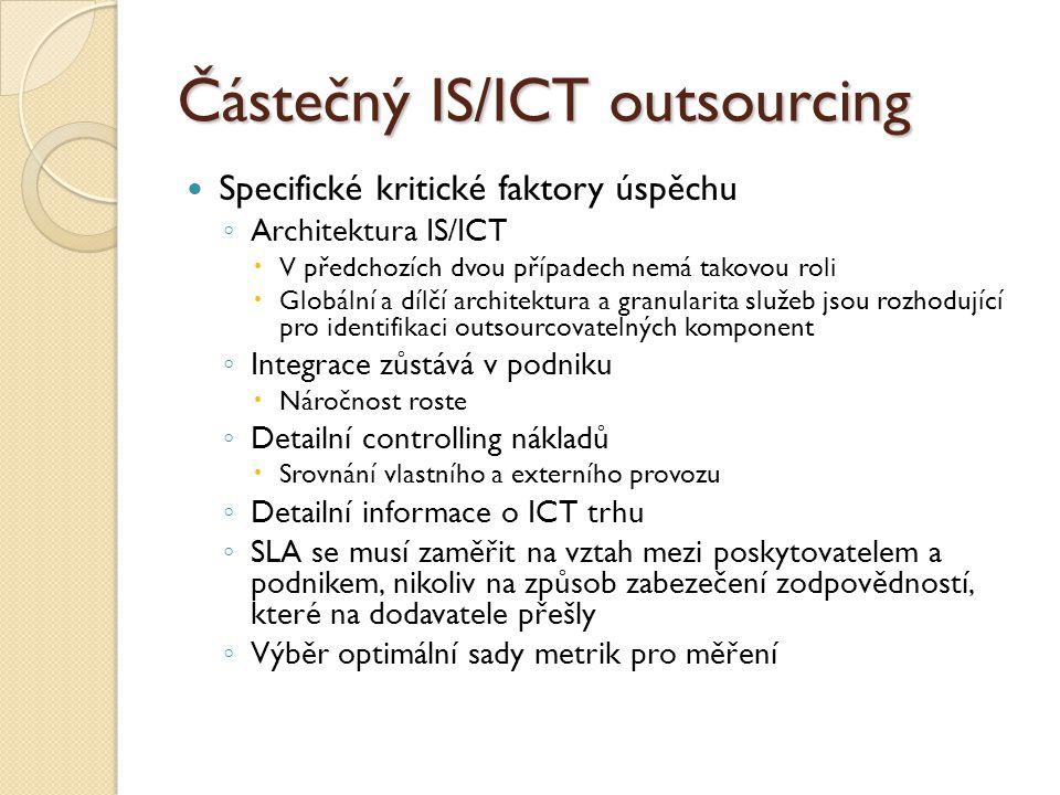 Částečný IS/ICT outsourcing Specifické kritické faktory úspěchu ◦ Architektura IS/ICT  V předchozích dvou případech nemá takovou roli  Globální a dí