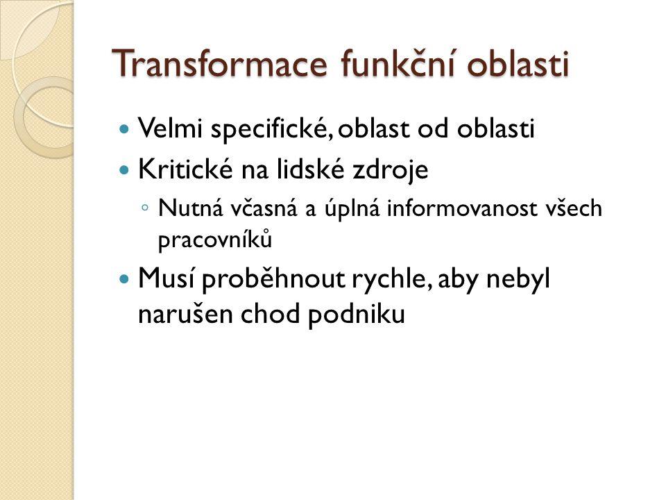Transformace funkční oblasti Velmi specifické, oblast od oblasti Kritické na lidské zdroje ◦ Nutná včasná a úplná informovanost všech pracovníků Musí