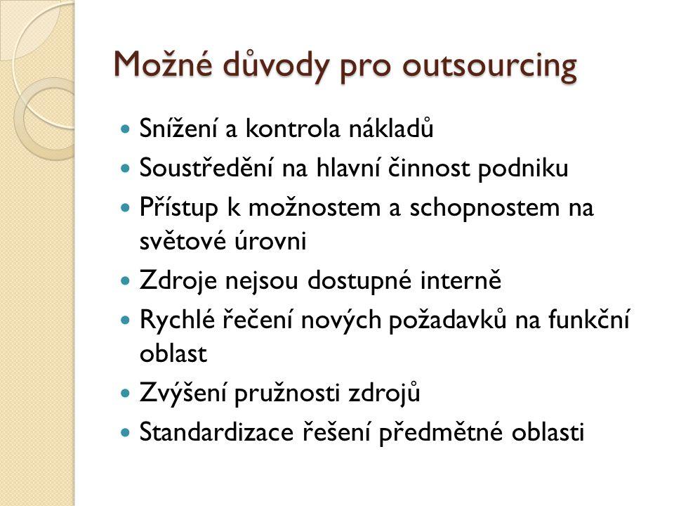 Možné důvody pro outsourcing Snížení a kontrola nákladů Soustředění na hlavní činnost podniku Přístup k možnostem a schopnostem na světové úrovni Zdro