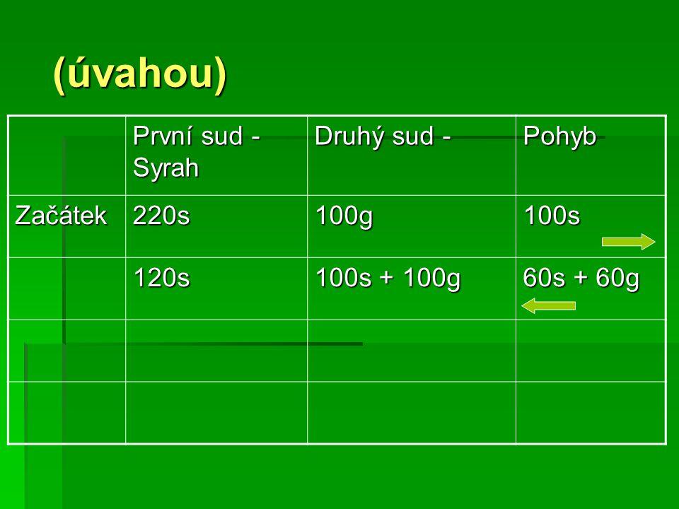 (úvahou) (úvahou) První sud - Syrah Druhý sud - Pohyb Začátek220s100g100s 120s 100s + 100g 60s + 60g