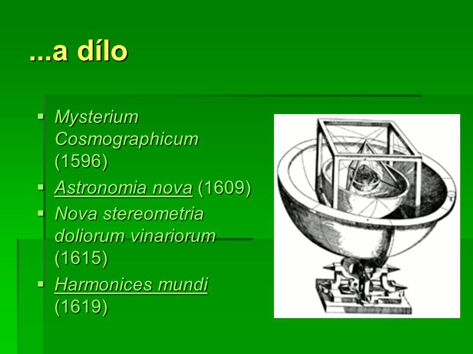 ...a dílo  Mysterium Cosmographicum (1596)  Astronomia nova (1609) Astronomia nova Astronomia nova  Nova stereometria doliorum vinariorum (1615)  Harmonices mundi (1619) Harmonices mundi Harmonices mundi