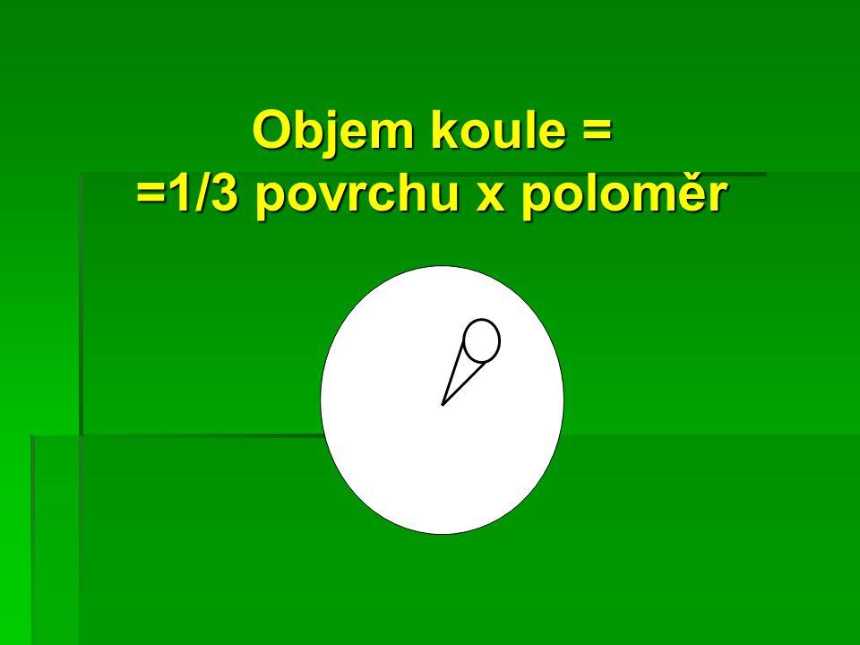 Objem koule = =1/3 povrchu x poloměr