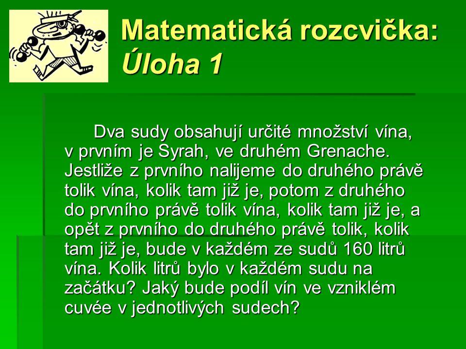 Matematická rozcvička: Úloha 1 Dva sudy obsahují určité množství vína, v prvním je Syrah, ve druhém Grenache.