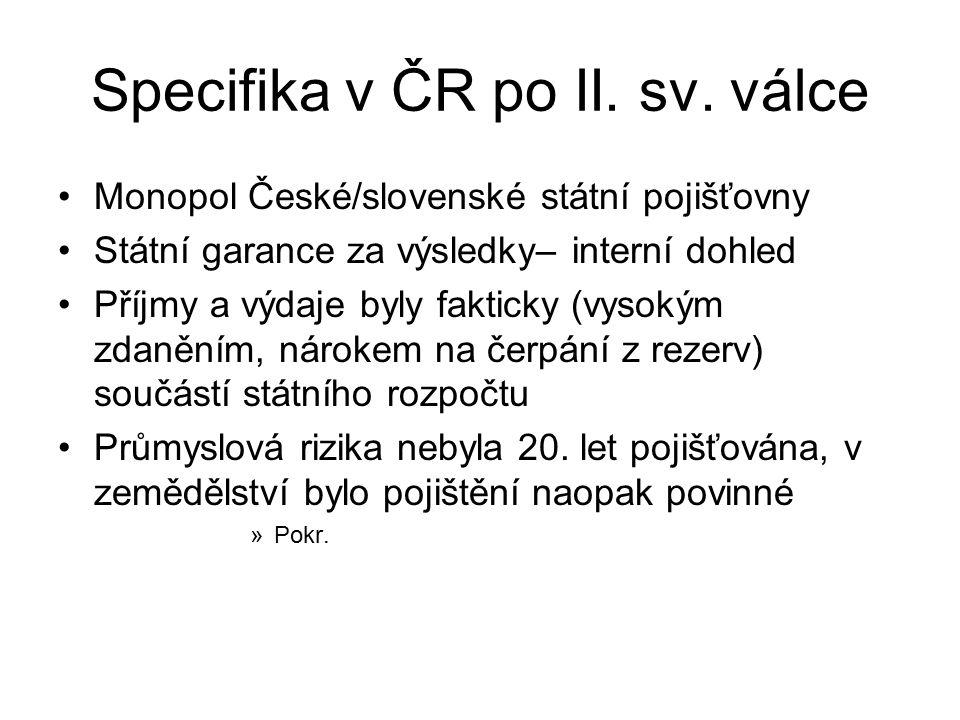 Specifika v ČR po II. sv. válce Monopol České/slovenské státní pojišťovny Státní garance za výsledky– interní dohled Příjmy a výdaje byly fakticky (vy
