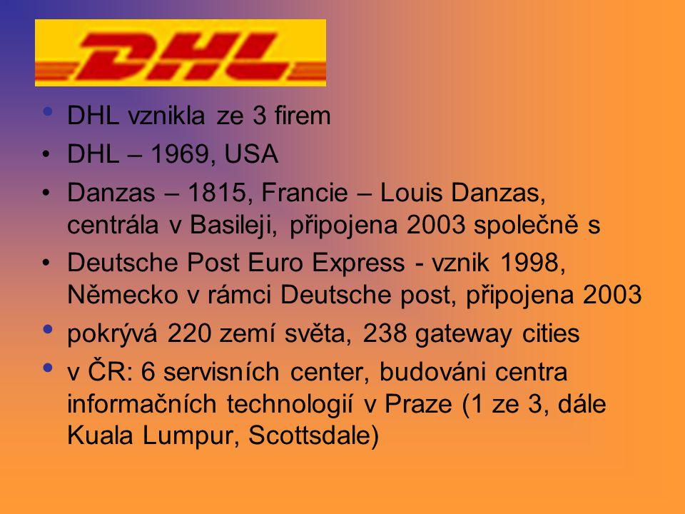DHL vznikla ze 3 firem DHL – 1969, USA Danzas – 1815, Francie – Louis Danzas, centrála v Basileji, připojena 2003 společně s Deutsche Post Euro Expres